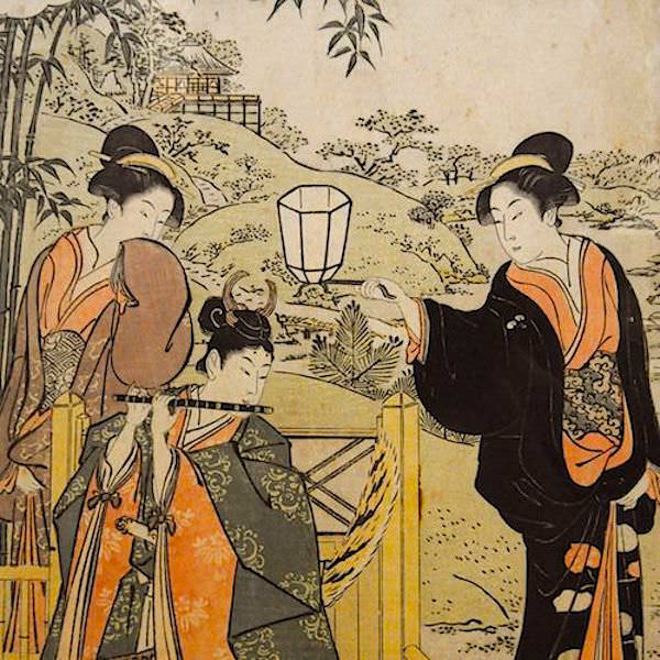 Parody of Lady Joruri and Ushiwakamaru - part of a triptych by Torii Kiyonaga (1752-1815)